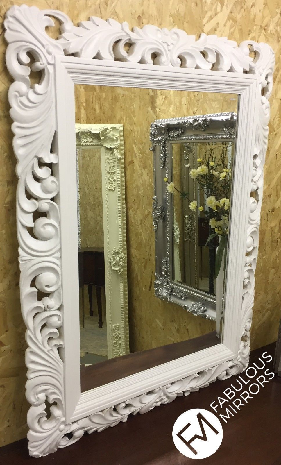 John Lewis White Ornate Carved Mirror 122cm X 91cm New